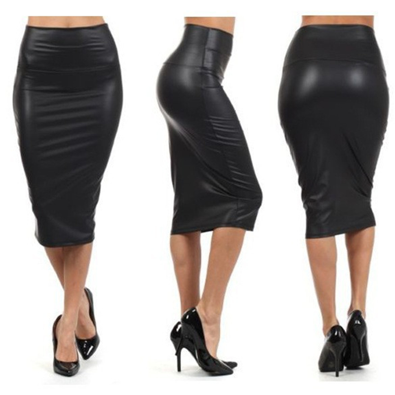 CUHAKCI Back Split Women Sexy Skirt High Waist PU Leather Skirt Vintage Black Skirt Bodycon Clubwear Long Navy Pencil Skirts