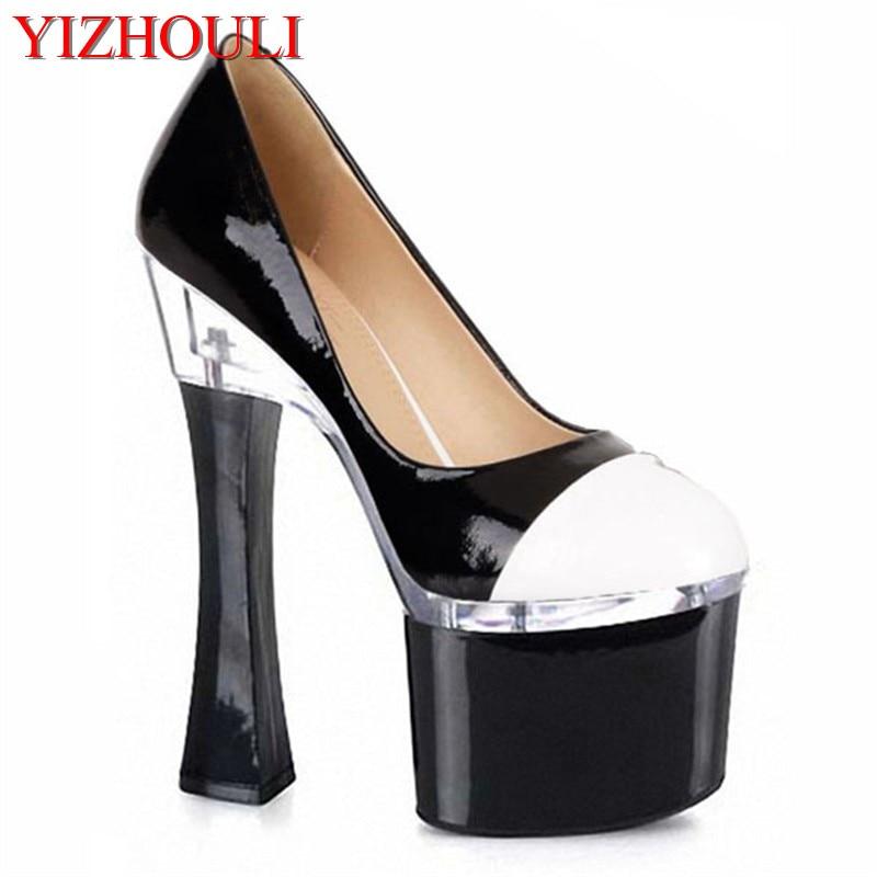 style 7 inch spool heels pumps shoe for women high heeled shoes 18cm ultra high heels black platform shoes