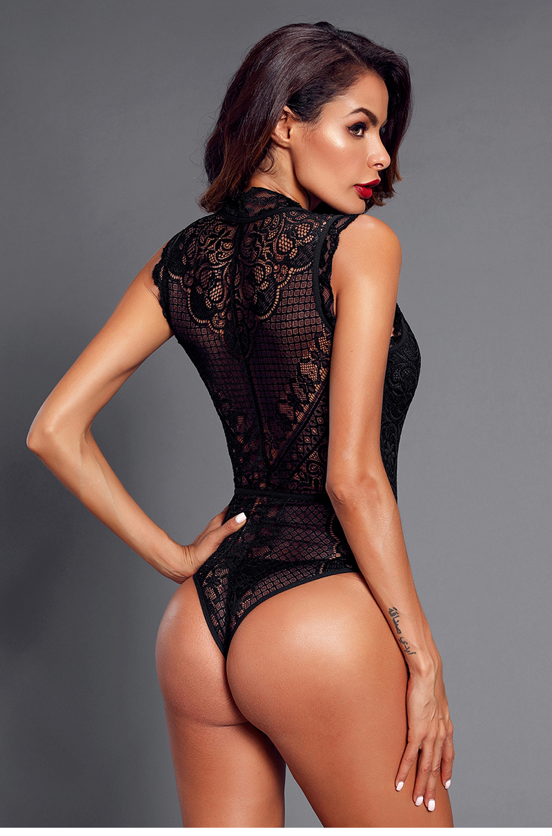Black-V-Neck-Hollow-out-Lace-Bodysuit-LC32247-2-8