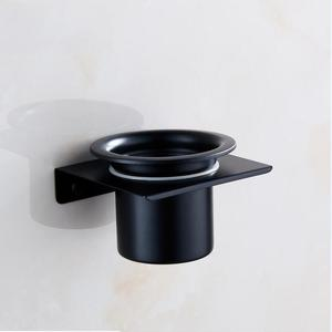 Image 4 - Modern Wall Mounted 304 Stainless Steel Black Toilet Brush Holder With Stainless Steel Cup, Bathroom Wall Hanging Storage Shelf