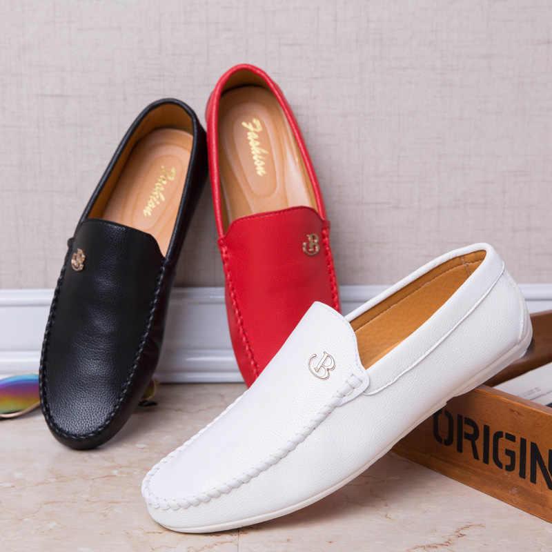 White Red Black Loafers 2019 Summer Men