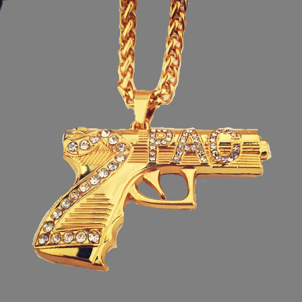 Mens Fashion Iced Out Trendy Golden Rinsestone 2pac Gun