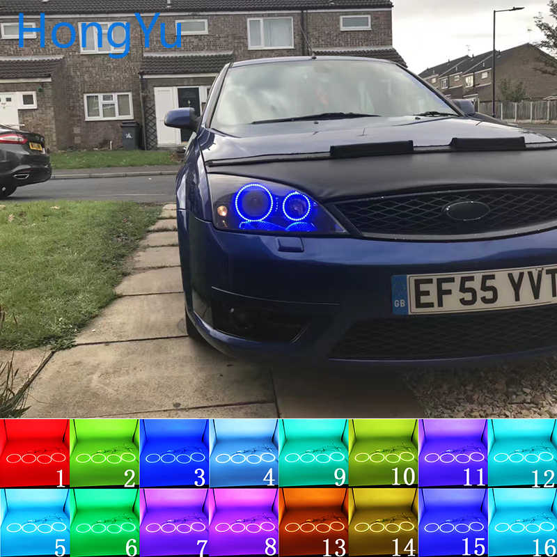 Latest Headlight Multi-color RGB LED Angel Eyes Halo Ring Eye DRL RF Remote Control for FORD Mondeo MK3 2001 - 2007 Accessories