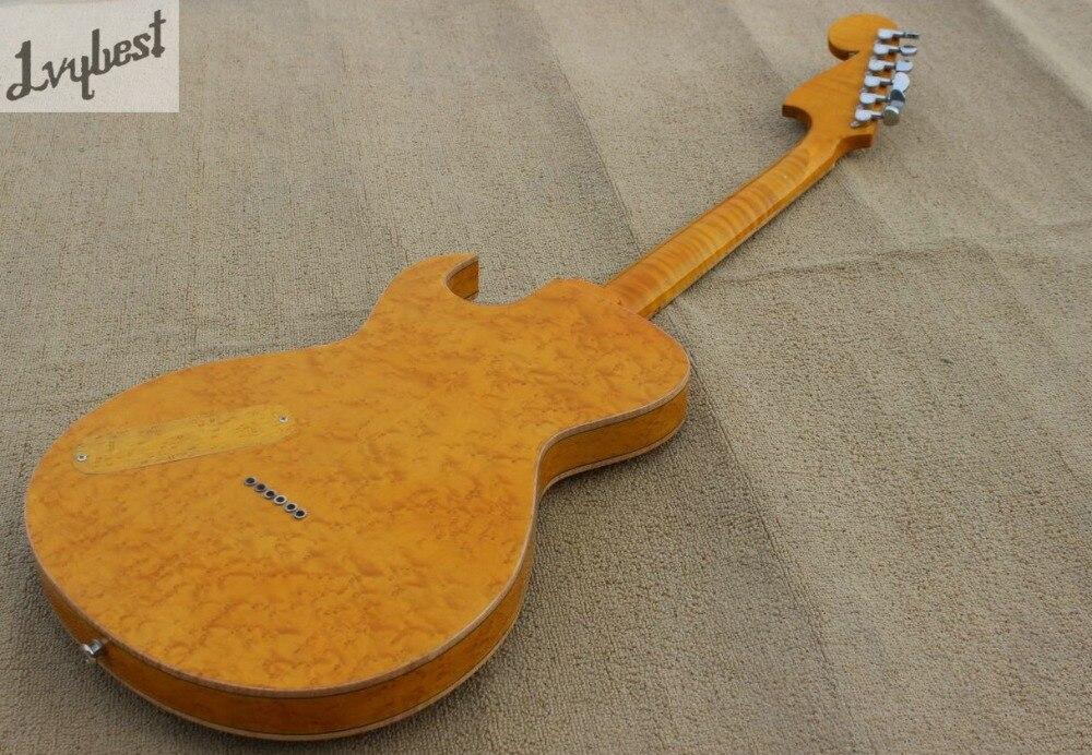 Guitare électrique couleur naturelle oeil d'oiseau haut et arrière flamme, queue de palissandre et pont et pickguard, logo personnalisé et poupée - 4