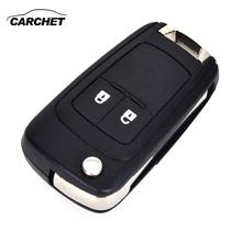 CARCHET dwa przyciski obudowa pilota z chowanym kluczem obudowa kluczyka etui na pilota obudowa HU100 ostrze dla chevroleta Opel Buick tanie tanio Z tworzywa sztucznego Flip remote key case Remote Key Shell Replacement for Buick Opel