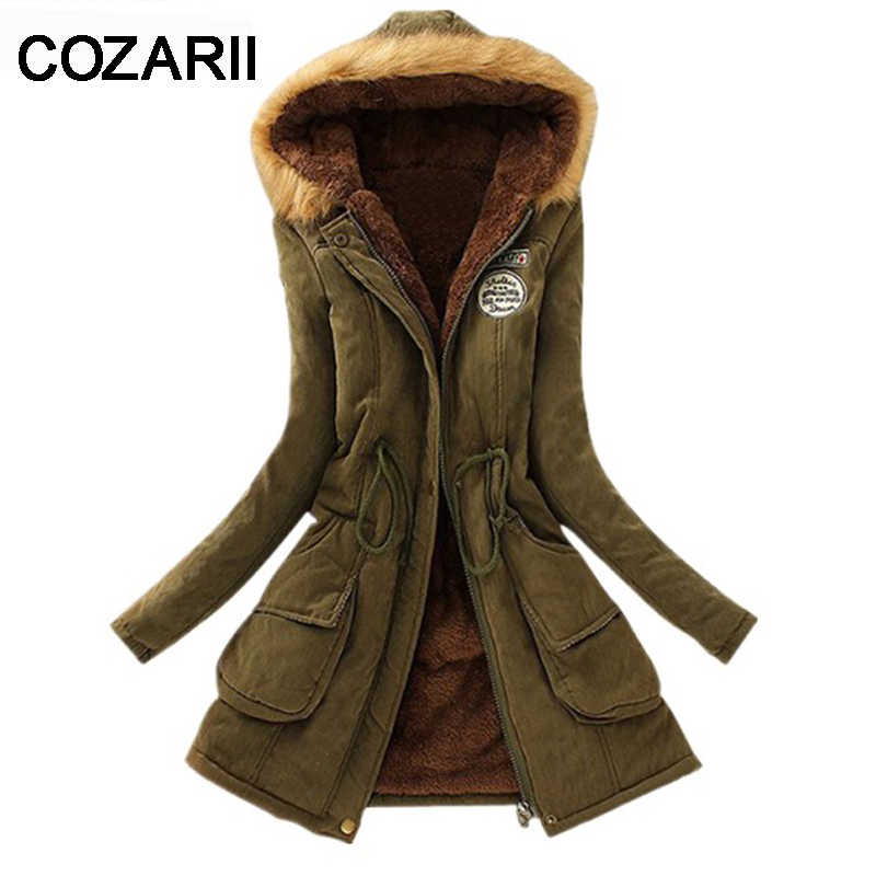 COZARII 2018 New Parkas fur collar women winter hooded coat Womens Outwear Parkas warm Thickening Cotton jacke for Women Winter