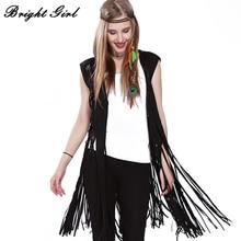 BRIGHT GIRL Women Vest Coat Fashion Coat Sleeveless Tassel Outwear Casual Brand Double Suede Tassels Out