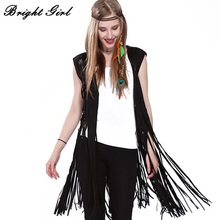 BRIGHT GIRL Women Vest Coat Fashion Coat Sleeveless Tassel Outwear Casual Brand Double Suede Tassels Out Wear Vest Feminino