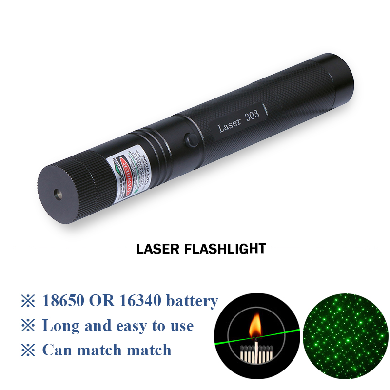 Powerful Military NO303 Green Laser Pointer Adjustable Focus 200mw 532nm laser flashlight 18650 rechargeable battery Laser Pen marsing 303 5mw 532nm starry sky green laser pointer flashlight golden 1 x 18650