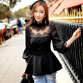 Original New 2016 Brand Spring and Autumn Ruffled Top Plus Size Slim Casual Sexy Black Women Blouse Wholesale