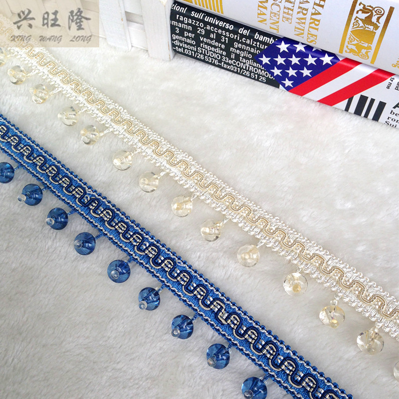 XWL New 12Yards Lot Crystal Beads Curtain Lace Accessories For Drapery DIY Sewing Tassel Fringes Trim