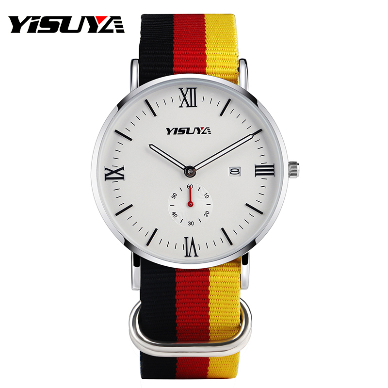YISUYA Germany Flag Band Quartz Women's Wrist Watch Nylon Strap Men Watch Fashion Sub Second Dial Waterproof Gifts