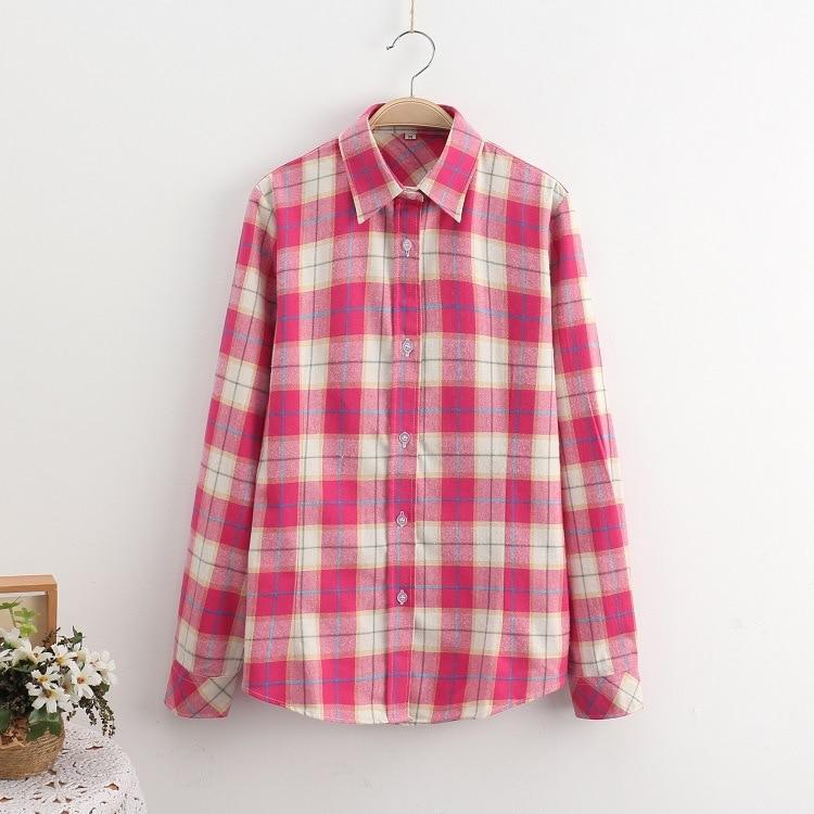 2018 Fashion Plaid Shirt Female College Style Women's Blouses Long Sleeve Flannel Shirt Plus Size Casual Blouses Shirts M-5XL 11