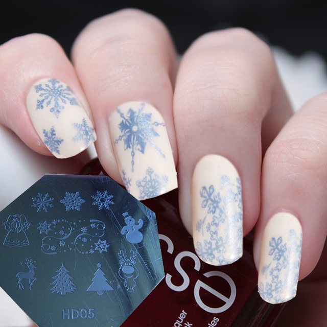 10x Kerst Xmas Thema Nail Art Stamp Template Image Plaat Hd Serie