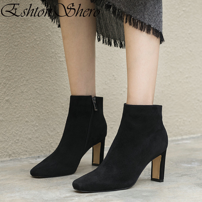 EshtonShero Shoes Woman Ankle Women Sock Boots High Heels Kid Suede Pointed Toe New Arrivals Ladies Riding Boots Size 34-40