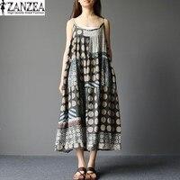 New Fashion ZANZEA Oversized Womens Summer Off Shoulder Spaghetti Straps Pockets Beach Maxi Long Dress Floral