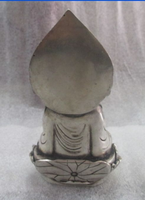 Elaborate ancient Chinese sculpture Tibetan silver guanyin sitting on the lotus statue in Statues Sculptures from Home Garden