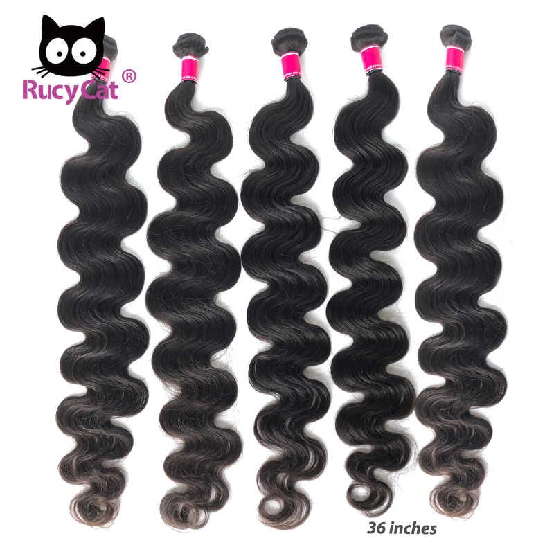 RucyCat 32 34-40 Inç Brezilyalı Bakire Saç Vücut Dalga Örgü Demetleri % 100% İnsan Saç 1/3/ 4 demetleri Doğal Renk saç ekleme