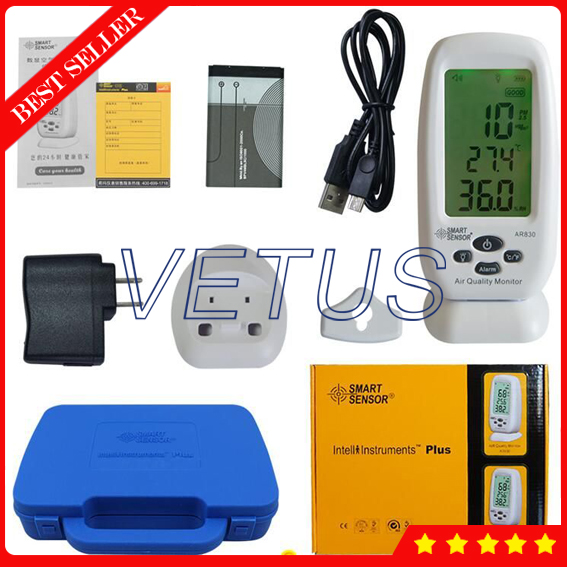 Smart Sensor AR830 LCD Display pm2.5 detector with indoor air quality monitor digital indoor air quality carbon dioxide meter temperature rh humidity twa stel display 99 points made in taiwan co2 monitor