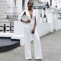 Combinaison dos nu pantalon Macacões Para As Mulheres 2016 Vestido Branco Bodycon Macacão V Pescoço Backless Calças Soltas Atacado HL