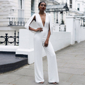 combinaison dos nu pantalon  Jumpsuits For Women 2016 Vestido White Bodycon Jumpsuit V Neck Backless Loose Pants Wholesale HL