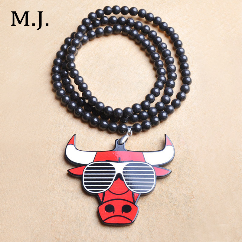Original New Hip Hop Long Necklace For Men Beads Chain Hippie Bull Pendant Maxi Necklaces Male Costume Jewelry Gifts