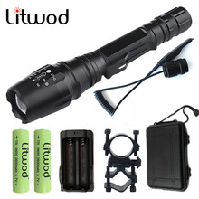 Litwod Z20V5 LED Flashlight Torch XML L2 T6 Zoomable Aluminum waterproof Tactical Flashlight Torch Linternas 2x Batteries(China)