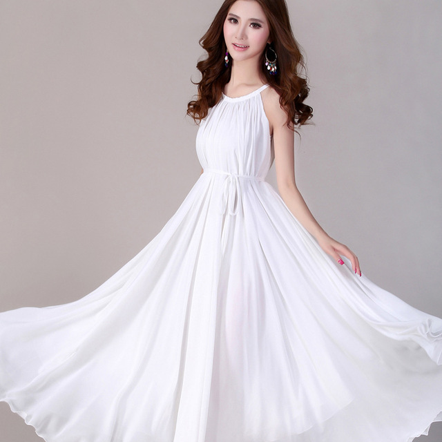 575f658a3e Fashion new 2017 Summer chiffon maxi dress elegant ladies wear long dress  sexy white beach bohemian