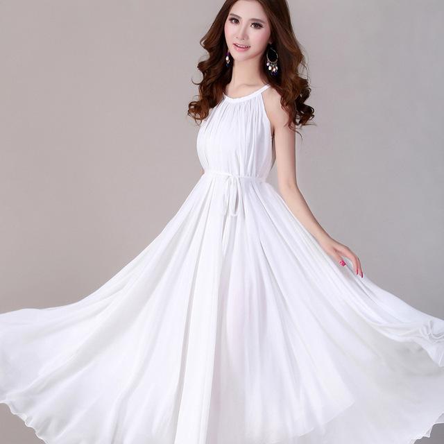 Moda de nova 2017 chiffon verão maxi dress senhoras elegantes desgaste longo dress sexy white beach bohemian dress mulheres jovens vestidos