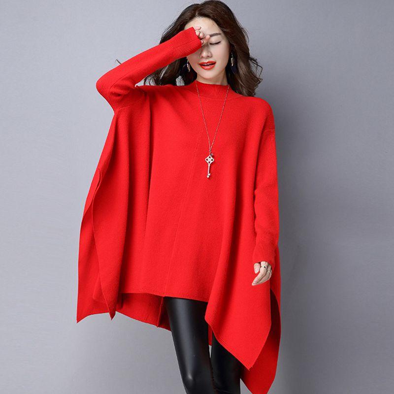 red Chandail Casual Solide Top Mode Chauve Black Manches Automne Lâche Nouvelles Hiver Femmes 2019 Dames Femelles Sauvage souris Couleur De L034 EzazSRxwCq