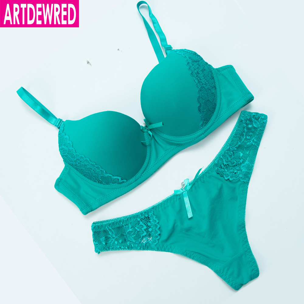ARTDEWRED New Lace Bra Set Sexy Solid Bra Brief Sets Women Underwear Set Push up Brassiere&Thong 32 34 36 38 ABC Cup