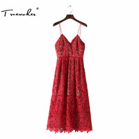 Truevoker Summer Designer Dress Women S High Quality Elegant Embroidery Crochet Hollow Out Sexy Spaghetti Strap
