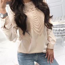 Women Chiffon Blouses Ladies Casual Lace Patchwork Hollow O Neck Shirt Long Sleeve Tops Blouse blusa feminina