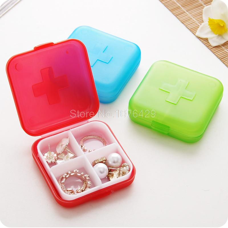 4 Slots Cross Portable Medicine Drug Plastic Storage Box Jewelry Case Organizer Mini Pil ...