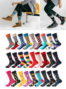 Cherry Socks Largos Calcetines Plaid Diamond 27colors-Striped Cotton Mens Brand-Quality