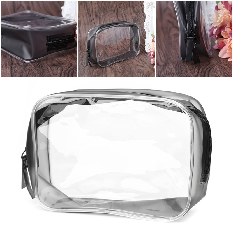 2017 New Waterproof PVC Transparent Women Travel Cosmetic Bag Fashion Portable Trunk Zipper Makeup Organizer Case Bag pvc transparent wash portable organizer case cosmetic makeup zipper bathroom jewelry hanging bag travel home toilet bag