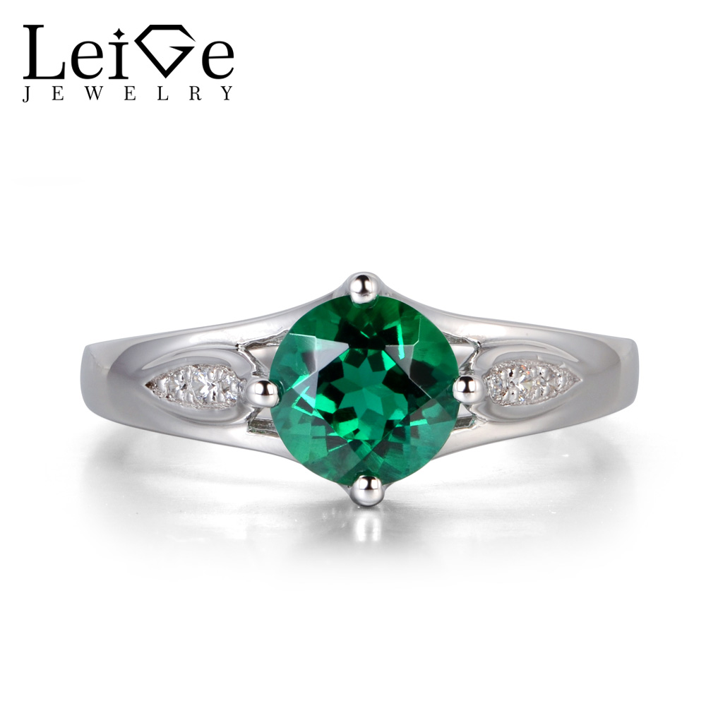 Leige Jewelry Emerald Engagement Rings Green Gemstone Promise Rings for Women Sterling Silver 925 Fine Jewelry May BirthstoneLeige Jewelry Emerald Engagement Rings Green Gemstone Promise Rings for Women Sterling Silver 925 Fine Jewelry May Birthstone