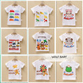Retail 3pcs/pack 10M-4years short-sleeve print T-shirt baby kids children Clothing girls boys Clothes Infant Garment summer