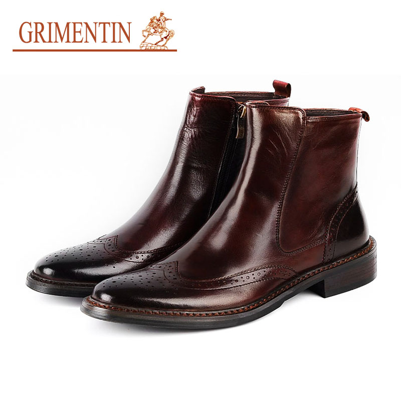 GRIMENTIN Men Boots Leather Genuine High Quality Zip Black Brown Italian Classic Wingtip Ankle Booties For Male HM26