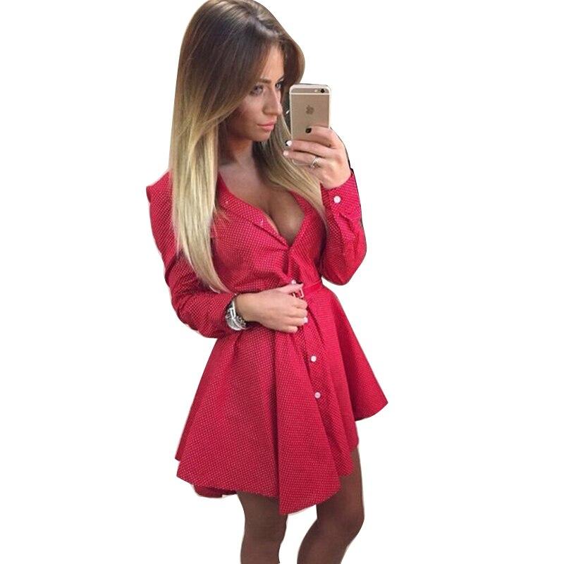 94e7ba3a0 Vestido de moda mujer 2016 nueva primavera mini vestidos sexy de manga  larga camisa de vestir de verano vestidos de la venta caliente vestido  CD1356 en ...