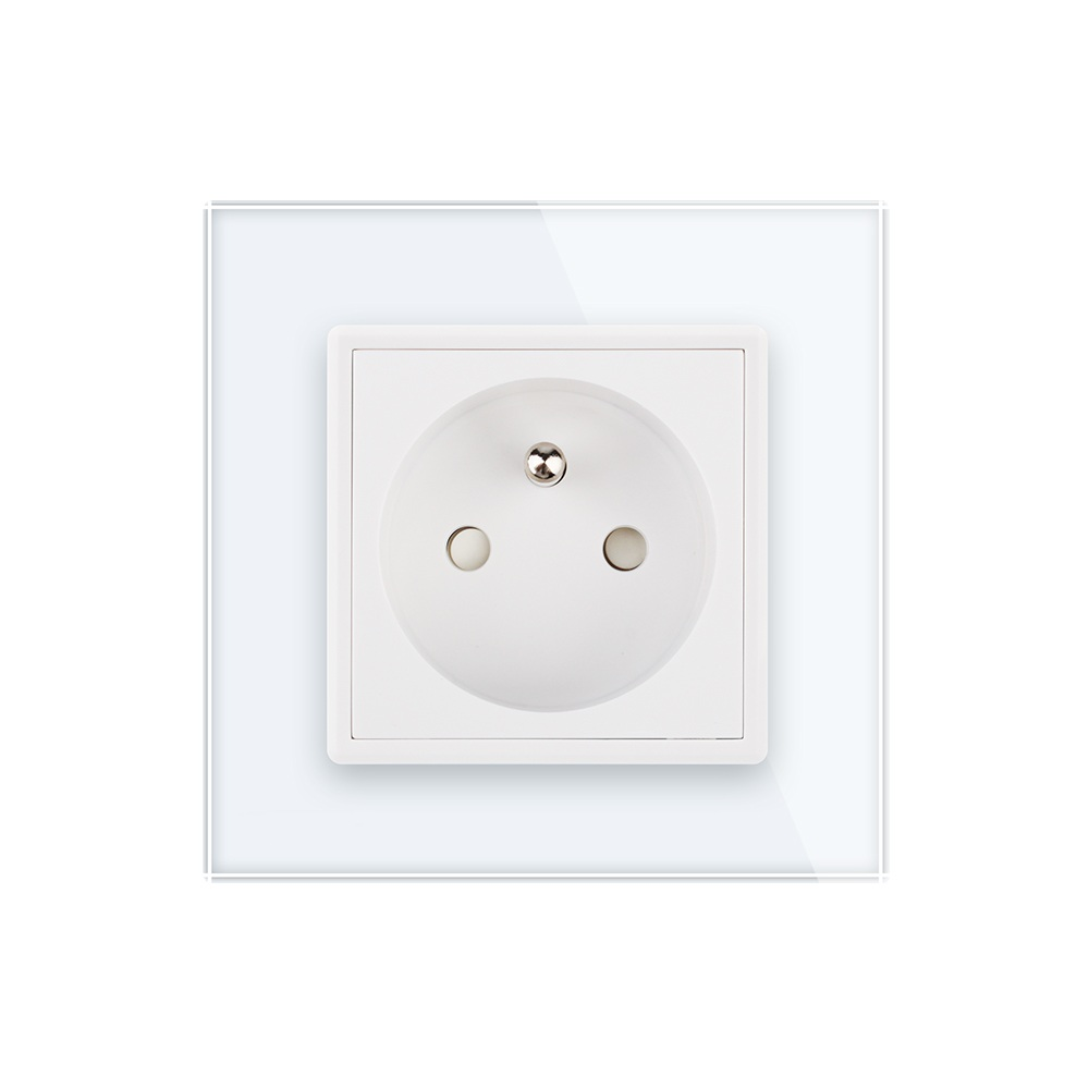 2017 New Outlet,French Standard Wall Power Socket,White Crystal Glass Panel, AC 110~250V 16A ,Electrical Sockets dhl ems v45108 gfci t slot duplex outlet wall plate included white new lot of 10 c4 d9