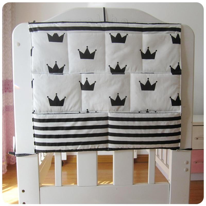 Mutter & Kinder Bettwäsche-sets Systematisch Krippe Baby Bett Stoßstange Hängende Lagerung Tasche Multi-funktionale Musselin Babybett Tasche Hängende Lagerung Tasche Baby Bettwäsche Stoßstange 48*58 Cm