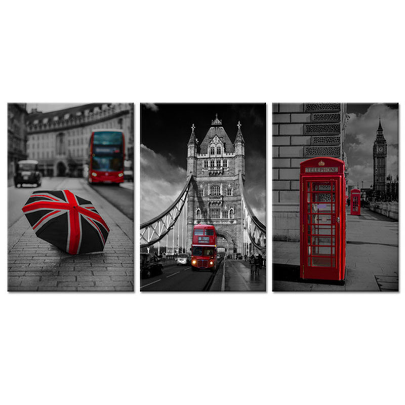 3 Pieces Diamond Embroidery Black And White Red London Bus England British Mosaic Full Square Round Diy Diamond PaintingZP 1953
