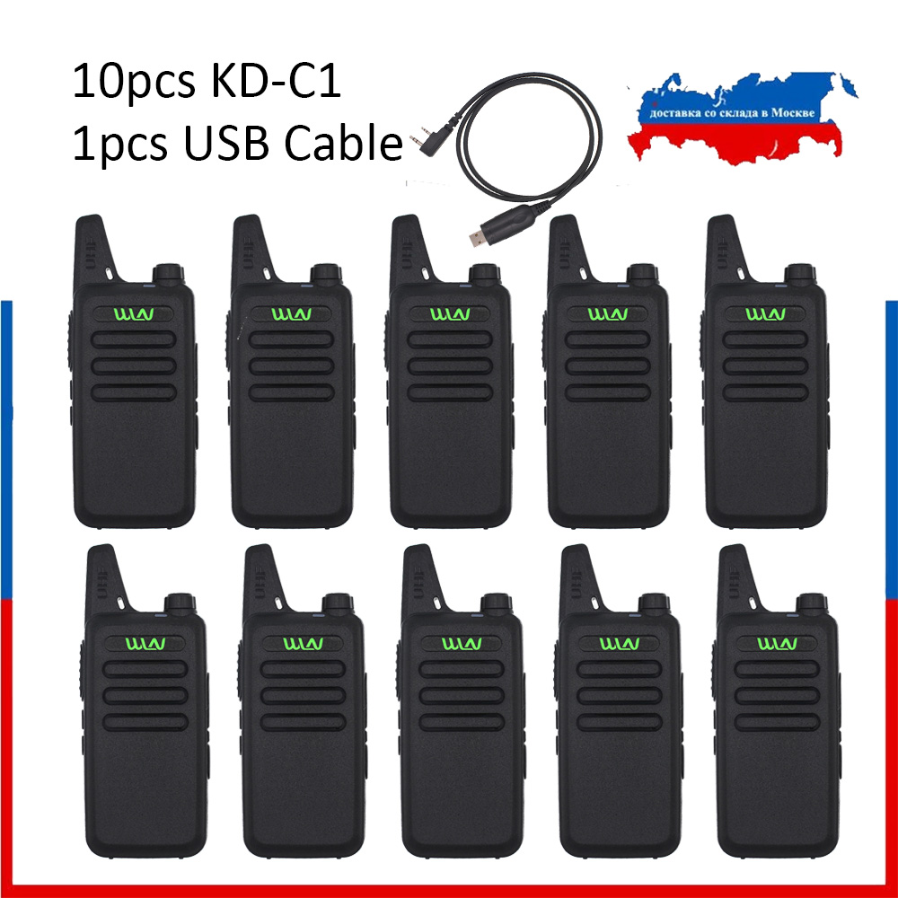 10pcs WLN KD-C1 Mini Walkie Talkie UHF 400-470 MHz 5W Power 16 Channel  MINI-handheld Transceiver Better Then BF-888S