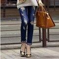 #222 2016 nuevas mujeres de Jeans Ladies Casual agujeros rasgados Denim marco pantalones lápiz Jeans talla 26 ~ 31 envío gratis