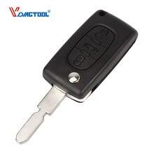 VDIAGTOOL 3 knoppen afstandsbediening autosleutel shell leeg kofferbak knop flip klep 406 blade met batterij klem (CE0536) voor Peugeot