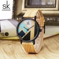 Shengke SK Brand New Creative Women Watch Female Leather Band Wood Strap Wristwatches Clock Lady Quartz