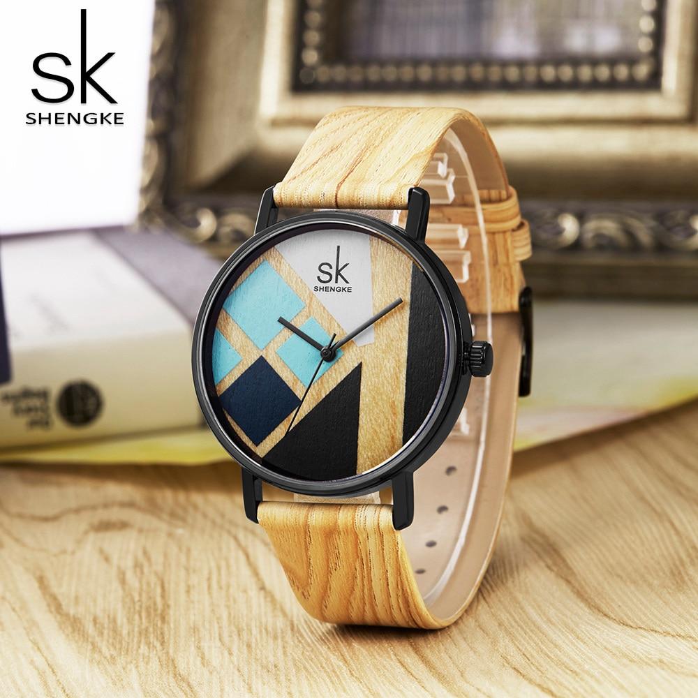 Shengke Women Watch Wood Strap Wristwatches Leather Band Female Clock Lady Quartz Watch Relogio Feminino Drop Shipping 2018