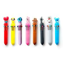 10-Color Pressing Ballpoint Pen Waterproof Oily Marker Stationery Student Pens
