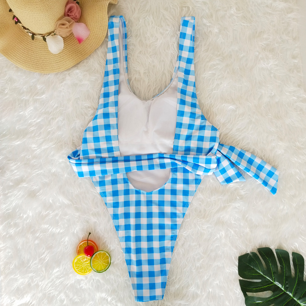 Sexy Siamese Strap Bikini 2019 New Plaid Striped Ladies Swimwear Polyester Print High Quality Swimsuit Push Up Blue Swimwear in Body Suits from Sports Entertainment